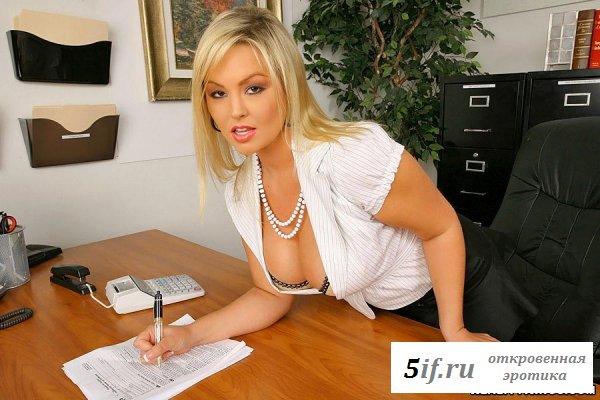 Улыбчивая сиськастая секретарша (8 фото)