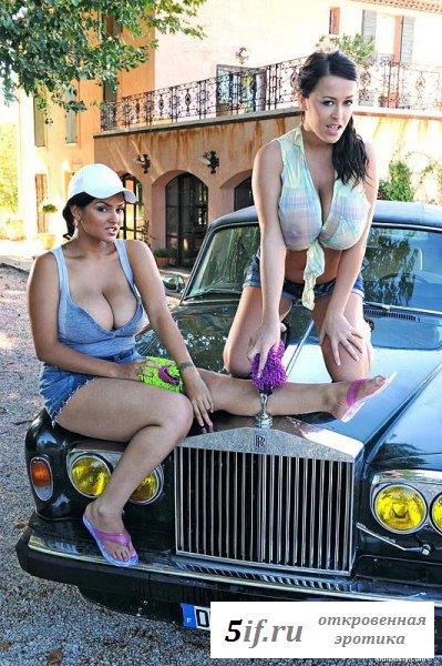 Развратные девки моют машину (12 фото)