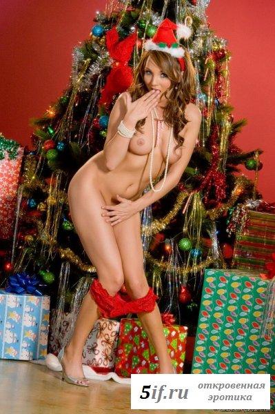 Голая телочка под новогодней елочкой (10 фото)