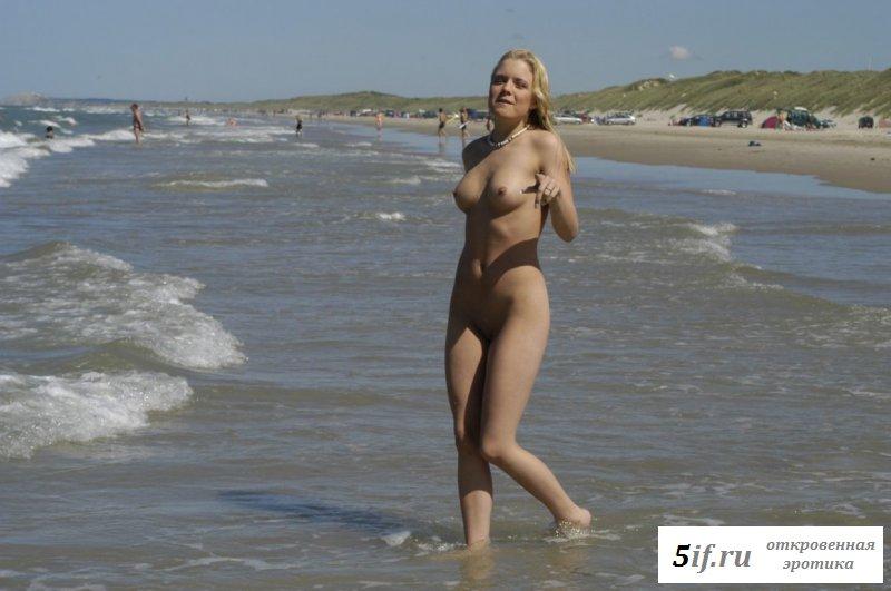 Похотливая норвежка оголилась на пляже